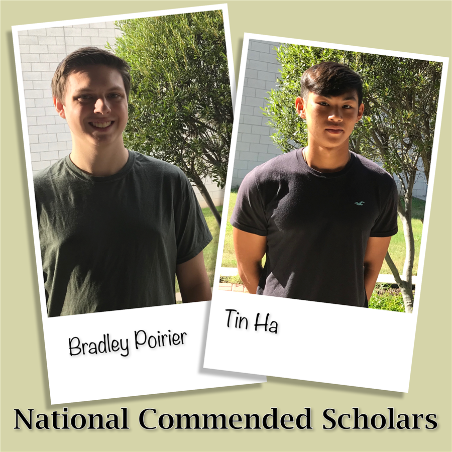 Pictures of Bradley Poirier and Tin Ha National Commended Scholars
